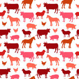 Beautiful farm animals seamless pattern in color Royalty Free Stock Image