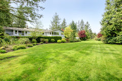 Beautiful farm house backyard. Amazing farm house backyard with green lawn, fir trees, bushes and trimmed hedges Royalty Free Stock Photo