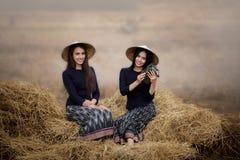 Beautiful farmer girls royalty free stock photo