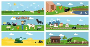 Beautiful Farmyard Cartoon Banners Royalty Free Stock Image