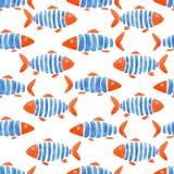 Beautiful fashinable seamless pattern with cute watercolor fish. Stock design illustration.