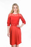 Beautiful Fashion Blond Business Woman In Red Office Dress Royalty Free Stock Photo