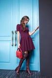Beautiful fashion dress style woman clothes makeup Stock Photos
