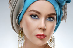 Beautiful fashion east  woman portrait with oriental accessories Stock Image