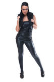Beautiful fashion girl in black leather suit Royalty Free Stock Photos