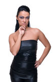 Beautiful fashion girl in black leather suit Stock Photography