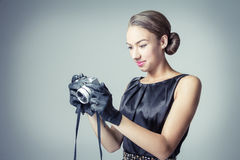 Beautiful fashion girl with classic vintage style royalty free stock images