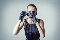 Beautiful fashion girl with classic vintage style Stock Photography