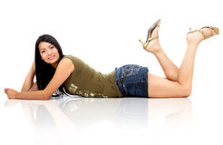 Beautiful fashion girl lying on the floor Stock Photos