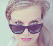 Beautiful fashion girl portrait with sunglasses Stock Image