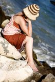 Beautiful fashion girl posing on beach Royalty Free Stock Images
