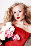Beautiful Fashion Girl with red makeup Royalty Free Stock Photo