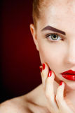 Beautiful Fashion Girl's Face. Makeup. Make-up and Manicure. Nail Polish. Beauty Skin and Nails. Beauty Salon Stock Photography