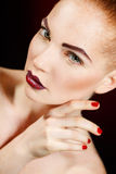 Beautiful Fashion Girl's Face. Makeup. Make-up and Manicure. Nail Polish. Beauty Skin and Nails. Beauty Salon Royalty Free Stock Images