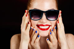 Beautiful Fashion Girl's Face. Makeup. Make-up and Manicure. Nail Polish. Beauty Skin and Nails. Beauty Salon Stock Photos