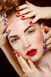 Beautiful Fashion Girl's Face. Makeup. Make-up and Manicure. Nail Polish. Beauty Skin and Nails. Beauty Salon Royalty Free Stock Image