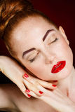 Beautiful Fashion Girl's Face. Makeup. Make-up and Manicure. Nail Polish. Beauty Skin and Nails. Beauty Salon Stock Image