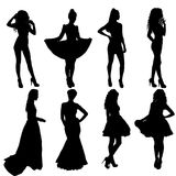 Beautiful fashion girl silhouette on a white background Royalty Free Stock Image