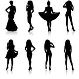 Beautiful fashion girl silhouette on a white background Stock Photography