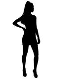 Beautiful fashion girl silhouette on a white background Royalty Free Stock Photo