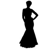 Beautiful fashion girl silhouette on a white background Stock Photo