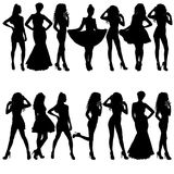 Beautiful fashion girl silhouette on a white background Stock Images
