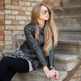 Beautiful and fashion girl in sunglasses, close-up portrait Stock Photos