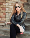 Beautiful and fashion girl in sunglasses, close-up portrait Royalty Free Stock Images