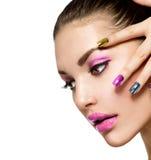 Beautiful Fashion Girls Face Stock Photography