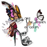 Beautiful fashion illustration with ahnd drawn female shoe. I ne. Beautiful fashion illustration with and drawn female shoe and butterfly wings. The power of Royalty Free Stock Photos
