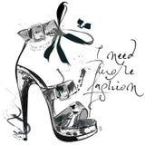 Beautiful fashion illustration with and drawn female shoe. I nee. D more fashion Royalty Free Stock Image