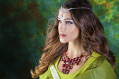 Beautiful fashion Indian woman portrait with oriental accessorie Royalty Free Stock Image