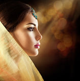 Beautiful fashion Indian woman profile portrait stock images