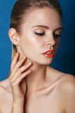 Beautiful Fashion Luxury Makeup, long eyelashes, perfect skin Royalty Free Stock Images