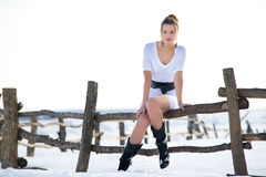 Beautiful fashion mode in winter Stock Photo