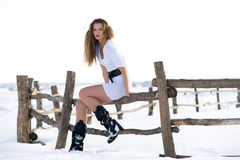 Beautiful fashion mode in winter. Picture of beautiful fashion model in winter farm Stock Photo