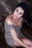 Beautiful fashion model in animal print dress Royalty Free Stock Images
