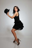 Beautiful fashion model in black dress Royalty Free Stock Images