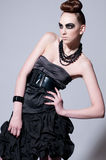 Beautiful fashion model with black make-up Royalty Free Stock Photo
