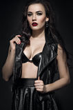 Beautiful Fashion model in black outfit Stock Photo