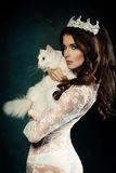Beautiful Fashion Model and Cat Stock Images