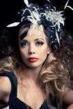 Beautiful fashion model, classic retro style look Stock Image