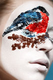 Beautiful fashion model with face art in winter style. Textural makeup. Bullfinch on tree Stock Photography