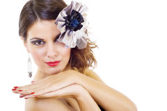 Beautiful fashion model with fine make-up Stock Images