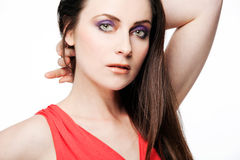 Beautiful fashion model with full make up. Royalty Free Stock Images
