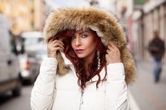 Beautiful Fashion Model In Fur Coat Stock Photography