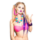 Beautiful fashion model girl with colorful hair stripes Stock Photography