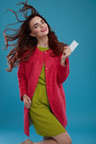 Beautiful Fashion Model Girl In Stylish Clothes With Empty Card Stock Photo