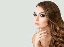 Beautiful Fashion Model with make up, Perfect Fresh Skin and Lon. Portrait of Beautiful Fashion Model with Bright Eye Make up and Long Wavy Hair. Perfect Fresh stock images