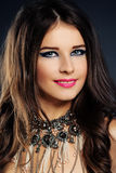 Beautiful Fashion Model. Makeup, Jewelry, Wavy Hair Royalty Free Stock Photo